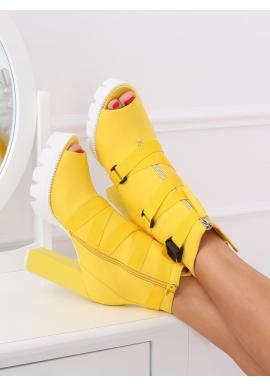 Dámske štýlové čižmy na podpätku v žltej farbe