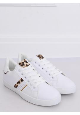 Klasické dámske tenisky bielej farby s leoparďou potlačou