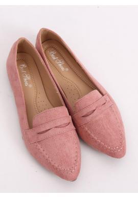 Semišové dámske mokasíny ružovej farby s jemným špicom