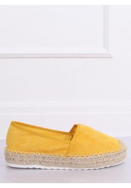 Dámske semišové espadrilky na vysokej podrážke v žltej farbe