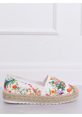 Biele kvetinové espadrilky na vysokej podrážke pre dámy