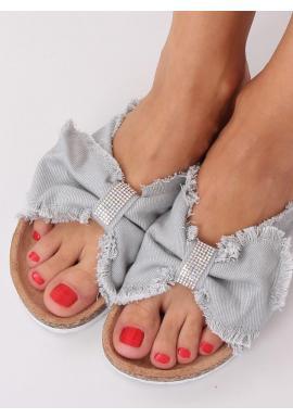 Plátené dámske šľapky sivej farby s korkovou podrážkou