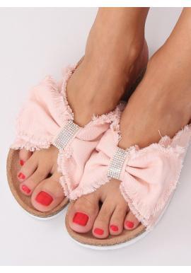 Plátené dámske šľapky ružovej farby s korkovou podrážkou