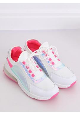 Štýlové dámske tenisky bielo-ružovej farby s holografickými prvkami