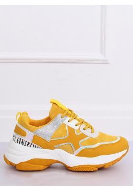 Žlté športové tenisky s masívnou podrážkou pre dámy