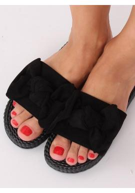 Čierne pohodlné šľapky s mašľou pre dámy