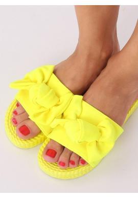 Dámske pohodlné šľapky s mašľou v žltej farbe