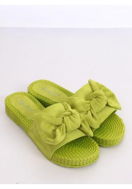Pohodlné dámske šľapky zelenej farby s mašľou