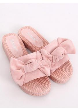 Ružové pohodlné šľapky s mašľou pre dámy