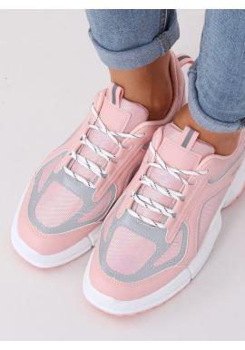 Dámske športové tenisky s vysokou podrážkou v ružovej farbe