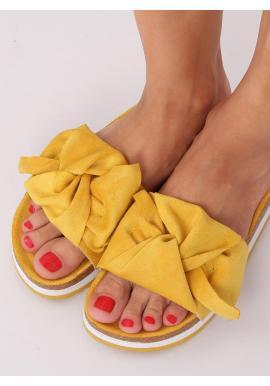 Semišové dámske šľapky žltej farby s vysokou podrážkou