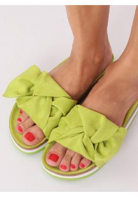 Zelené semišové šľapky s vysokou podrážkou pre dámy
