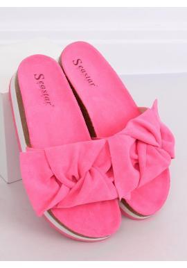 Dámske semišové šľapky s vysokou podrážkou v ružovej farbe