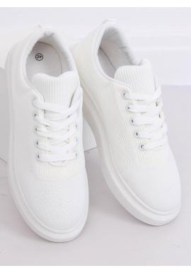 Biele módne tenisky na vysokej podrážke pre dámy