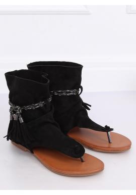 Čierne semišové sandále so zvrškom pre dámy