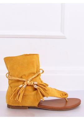 Dámske semišové sandále so zvrškom v žltej farbe