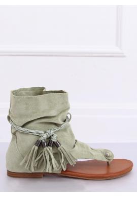 Semišové dámske sandále zelenej farby so zvrškom