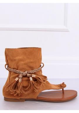 Hnedé semišové sandále so zvrškom pre dámy