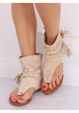 Dámske semišové sandále so zvrškom v béžovej farbe