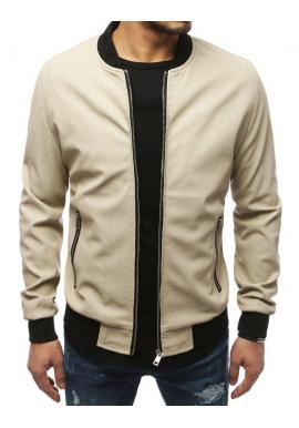 Pánska kožená bunda na jar v béžovej farbe