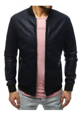 Tmavomodrá kožená bunda na jar pre pánov