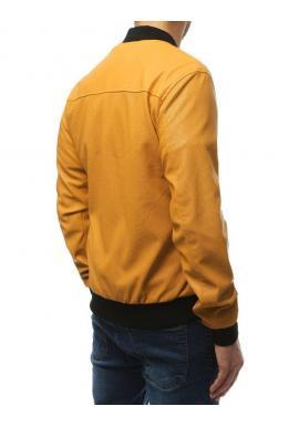 Pánska kožená bunda na jar v žltej farbe