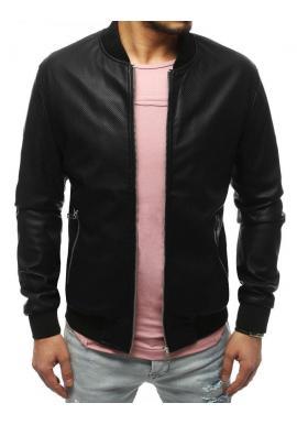 Čierna kožená bunda na jar pre pánov
