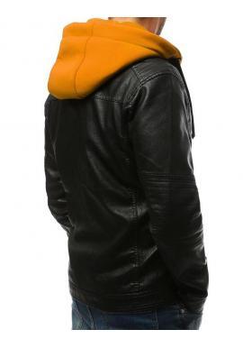 Kožená pánska bunda čiernej farby so žltými prvkami