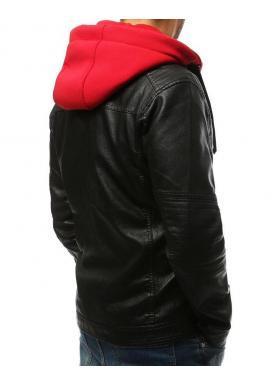 Pánska kožená bunda s červenými prvkami v čiernej farbe