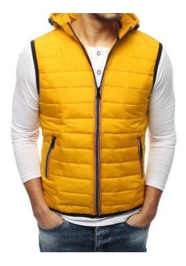 Pánska prešívaná vesta s kapucňou v žltej farbe