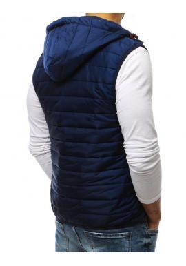 Tmavomodrá prešívaná vesta s kapucňou pre pánov