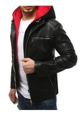 Kožená pánska bunda čiernej farby s červenou kapucňou