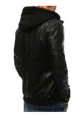 Pánska kožená bunda s červenou kapucňou v čiernej farbe