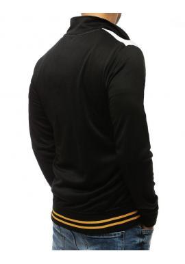 Športová pánska mikina čiernej farby s kontrastnými vložkami