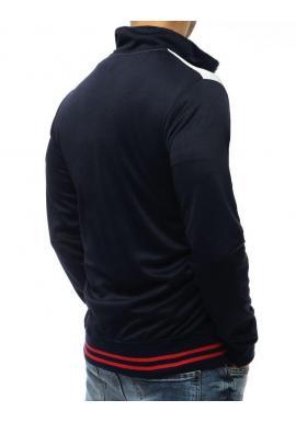 Pánska športová mikina s kontrastnými vložkami v tmavomodrej farbe