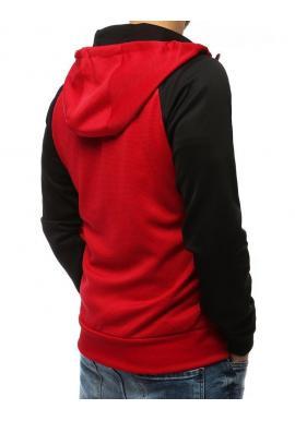 Klasická pánska mikina červenej farby s kapucňou