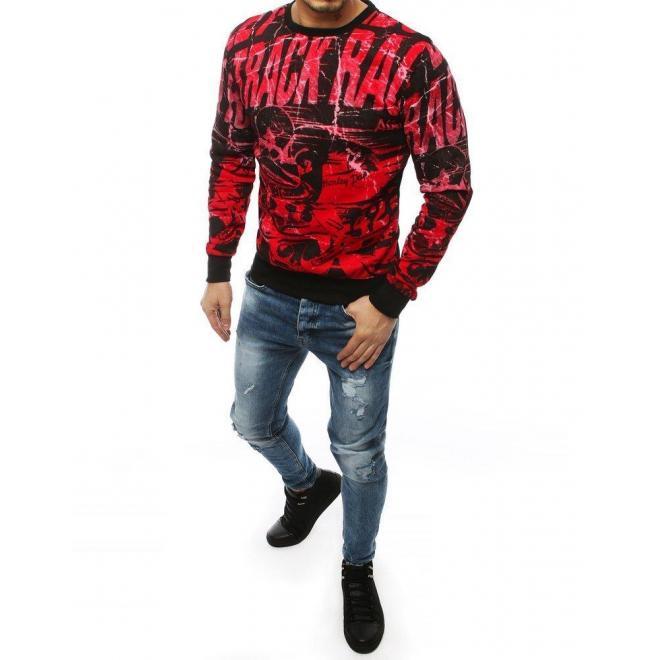 Červená módna mikina s potlačou pre pánov