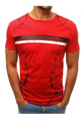 Pánska módne tričko s potlačou v červenej farbe