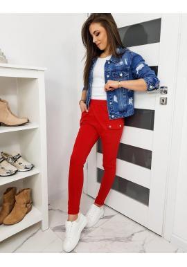 Červené módne tepláky s vreckami na bokoch pre dámy
