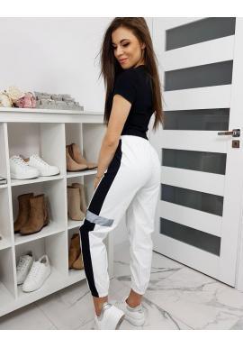 Dámske športové nohavice v bielej farbe