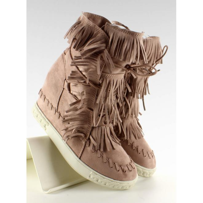 Semišové Sneakersy na platforme so strapcami sivej farbe