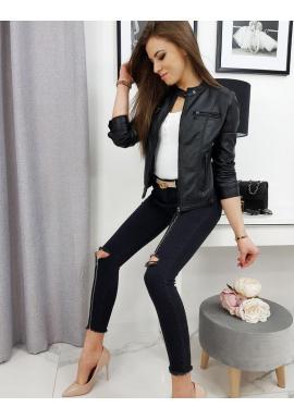 Dámska kožená bunda na prechodné obdobie v čiernej farbe