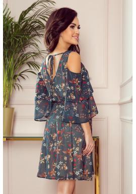Vzdušné dámske šaty tmavozelenej farby s kvetmi