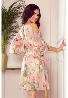 Ružové vzdušné šaty s kvetmi pre dámy