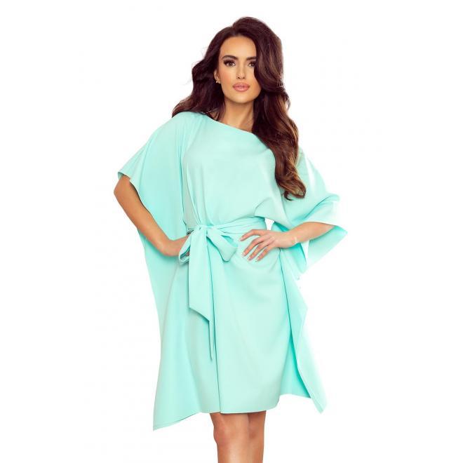 Mätové módne šaty s opaskom pre dámy