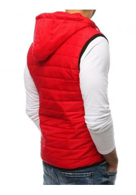 Pánska prešívaná vesta s kapucňou v červenej farbe