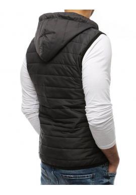 Prešívaná pánska vesta tmavosivej farby s kapucňou