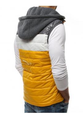 Prešívaná pánska vesta žltej farby s teplákovou kapucňou