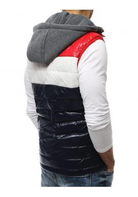 Tmavomodrá prešívaná vesta s teplákovou kapucňou pre pánov