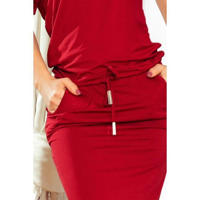 Dámske športové šaty s krátkym rukávom v bordovej farbe
